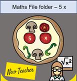 File folder Math 5 x table