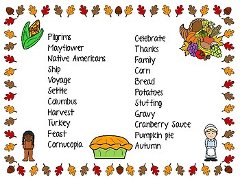 File folder Thanksgiving vocab for writing centers!