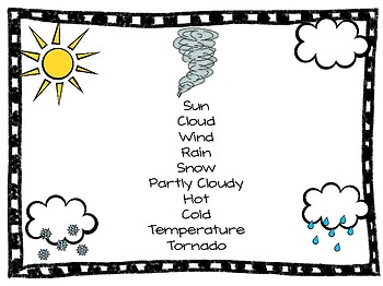 File folder Weather vocab for writing centers!