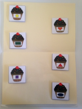 File folder cupcake shape match