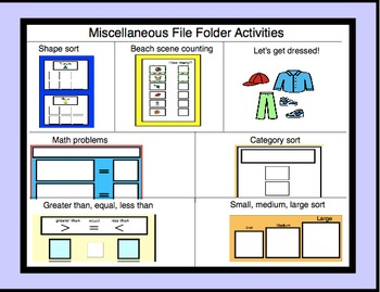 File folder game- autism, special education, math