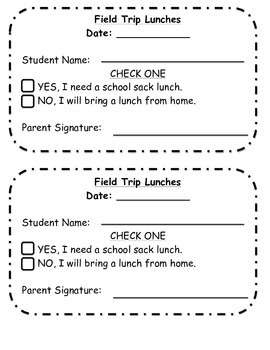 Filed Trip Lunch Form