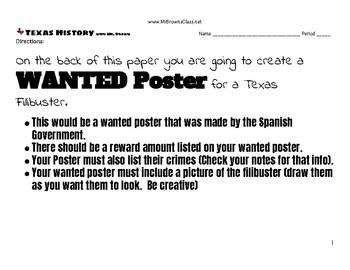 Filibuster Wanted Poster Unit 05 Mexican National Era and Empresarios