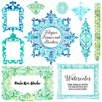Filigree Flourish Clip Art Frames and Page Dividers - Cool Watercolors