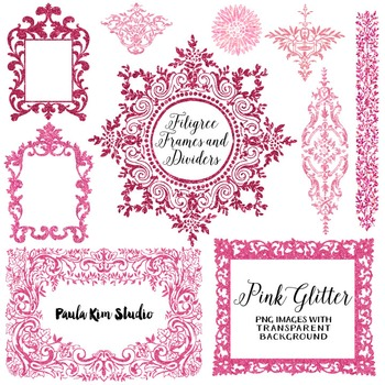 Filigree Flourish Clip Art Frames and Page Dividers - Pink Glitter