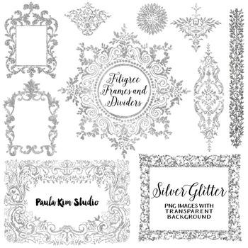 Filigree Flourish Clip Art Frames and Page Dividers - Silver Glitter