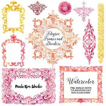 Filigree Flourish Clip Art Frames and Page Dividers - Warm Watercolors