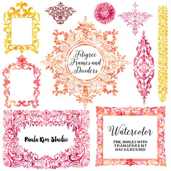 Filigree Flourish Clip Art Frames and Page Dividers - Warm