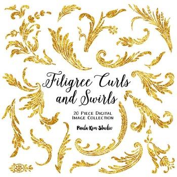 Filigree Flourish Curls and Swirls Clip Art