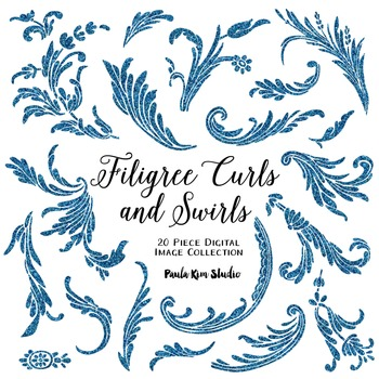 Filigree Flourish Curls and Swirls Clip Art - Blue Glitter