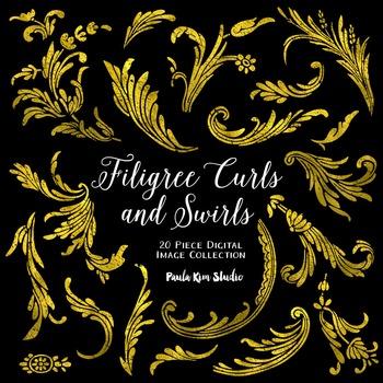 Filigree Flourish Curls and Swirls Clip Art - Gold Foil