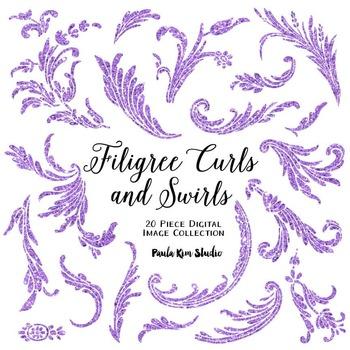 Filigree Flourish Curls and Swirls Clip Art - Purple Glitter