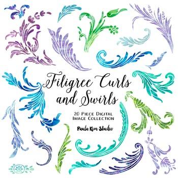 Filigree Flourish Curls and Swirls Clip Art - Watercolor
