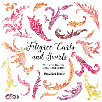 Filigree Flourish Curls and Swirls Clip Art - Watercolor