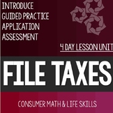 File Taxes Lesson Unit Consumer Math Life Skills Special Education