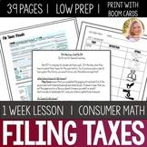 File Taxes Lesson Unit Consumer Math Life Skills Special E