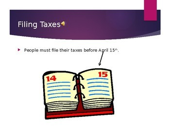 Filing Taxes Power Point- High School Special Education