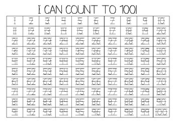 """I Can Count to 100"" Fill-In Chart"