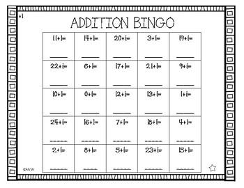 Fill In Addition Bingo