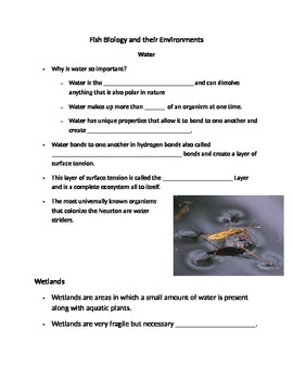 Fill In Blank Notes- Fish Biology and Their Environments