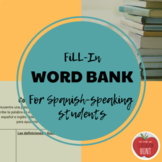 Fill-In Collective Word Bank Vocabulary Resource for Spanish Speaking Students