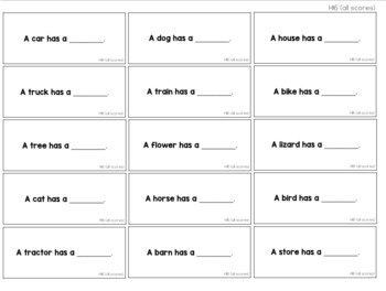 Fill In Feature, Function, and Class Task Cards [ABLLS-R Aligned to H}