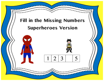 Fill In Missing Numbers 1 to 10 Superheroes Version