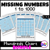 Hundreds Chart Missing Numbers 1 to 1000 BUNDLE with TPT Easel