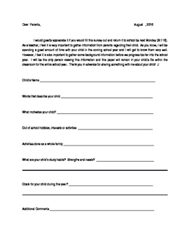 Fill-In Parent Student Survey
