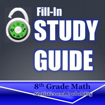 Fill In Study Guide--Entire DATA Strand for 8th Grade or M