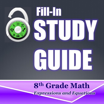 Fill In Study Guide--Entire EE Strand for 8th Grade or Math 1/Algebra Review