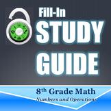 Fill In Study Guide--Entire NO Strand for 8th Grade or Math 1/Algebra Review