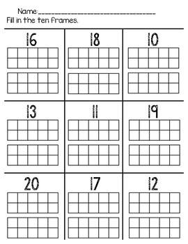 Fill In Ten Frames 10 to 20