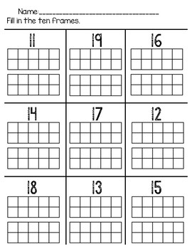 Fill In Ten Frames 10 to 20