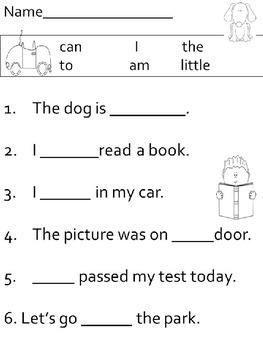 Fill In The Blank - sight word sentence worksheets
