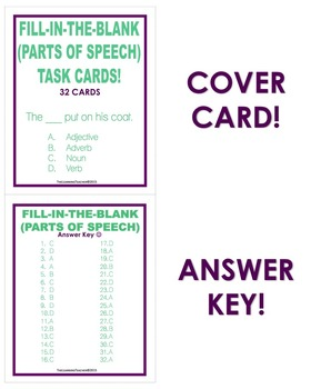 Fill-In-The-Blank (Parts of Speech) Task Cards