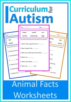 Fill In The Blanks Animal Sentences, Autism Special Education