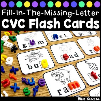 Fill-In-The-Missing-Letter, CVC Word Work Printable Flash Cards
