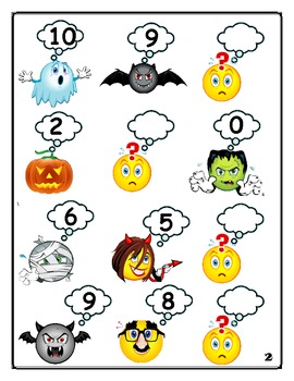 Fill In The Missing Number: Halloween Counting Backwards and Forwards 1 -10
