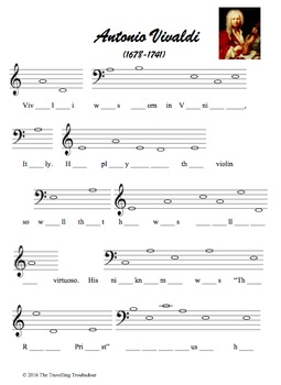 Fill-In-The-Notes Composer Biographies - Vivaldi, Mozart,