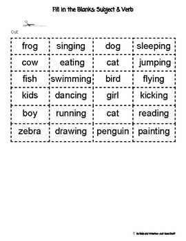 Fill In The Sentence- Subject and Verb