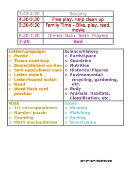 Detail Preschool Homeschool Schedule - .doc so you can customize times!