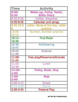 Detail Preschool Homeschool Schedule - .doc so you can cus