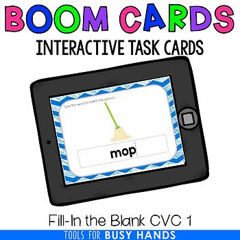 Fill-In the Blank CVC Interactive Digital Task Cards (Boom! Deck) 1