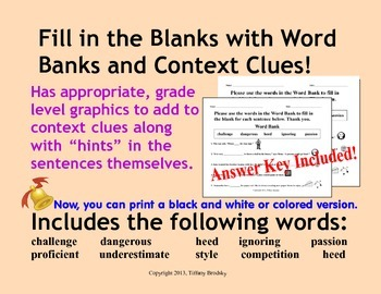 Fill In the Blanks with Context Clues Vocabulary Sentences