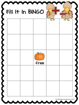 Fill It In Bingo Fall Bundle Expanded Notation Addition/Subtraction
