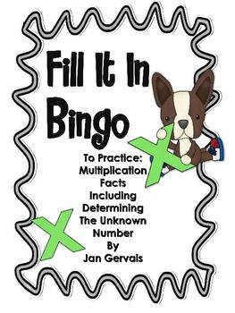 Fill It In Bingo (Multiplication Facts)