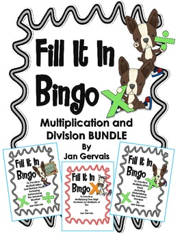 Fill It In Bingo Multiplication and Division BUNDLE