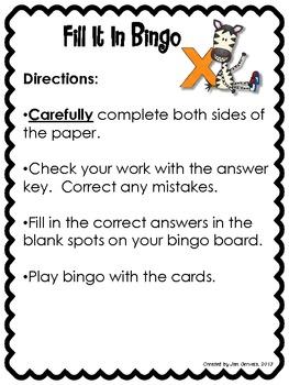 Fill It In Bingo (Multiplying One Digit Numbers by Multiples of Ten)