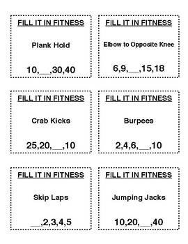 Fill It In Fitness Cards (No Pictures)